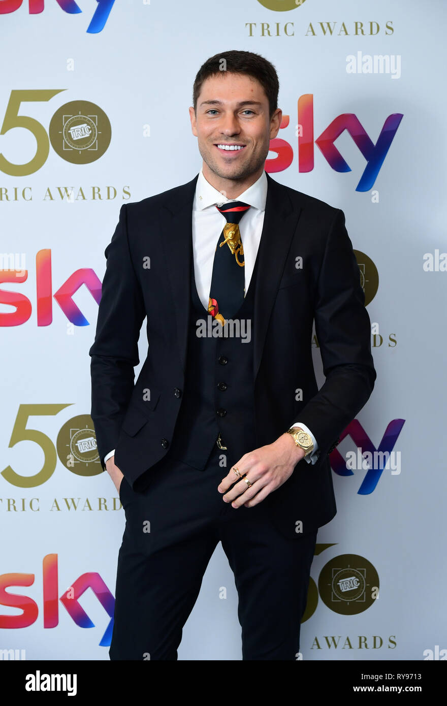 Joey Essex attending the TRIC Awards 2019 50th Birthday Celebration held at the Grosvenor House Hotel, London. - Stock Image
