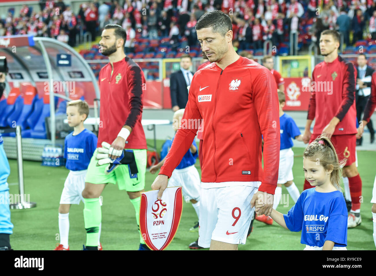 CHORZOW, POLAND - OCTOBER 11, 2018: Football Nations League division A group 3 match Poland vs Portugal 2:3 . In the picture captain Robert Lewandowsk - Stock Image