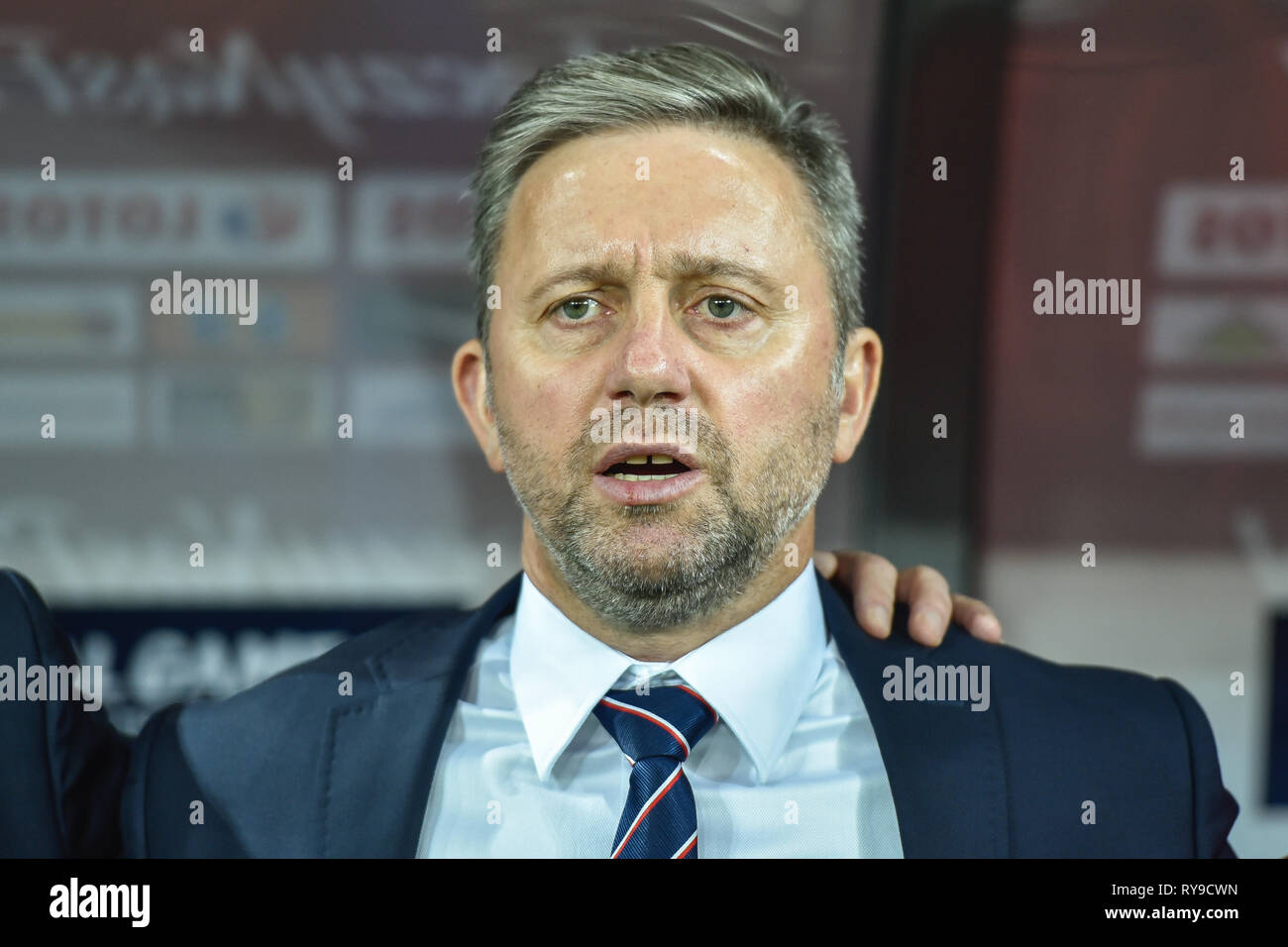 CHORZOW, POLAND - OCTOBER 11, 2018: Football Nations League division A group 3 match Poland vs Portugal 2:3 . In the picture Jerzy Brzeczek coach of P - Stock Image