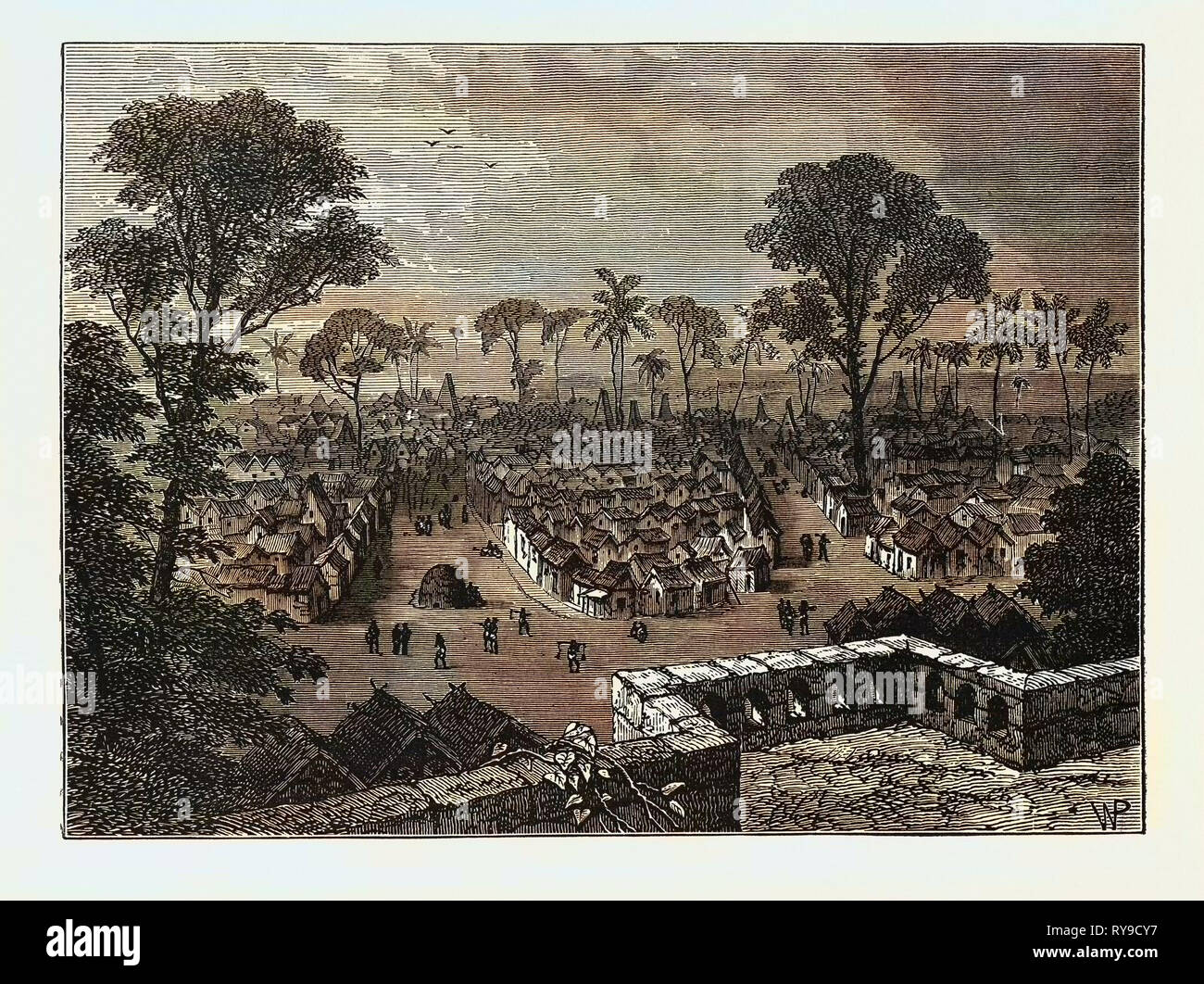 VIEW OF COOMASSIE, THE CAPITAL OF ASHANTI. Ashanti Empire, a pre-colonial West African state in what is now Ghana - Stock Image