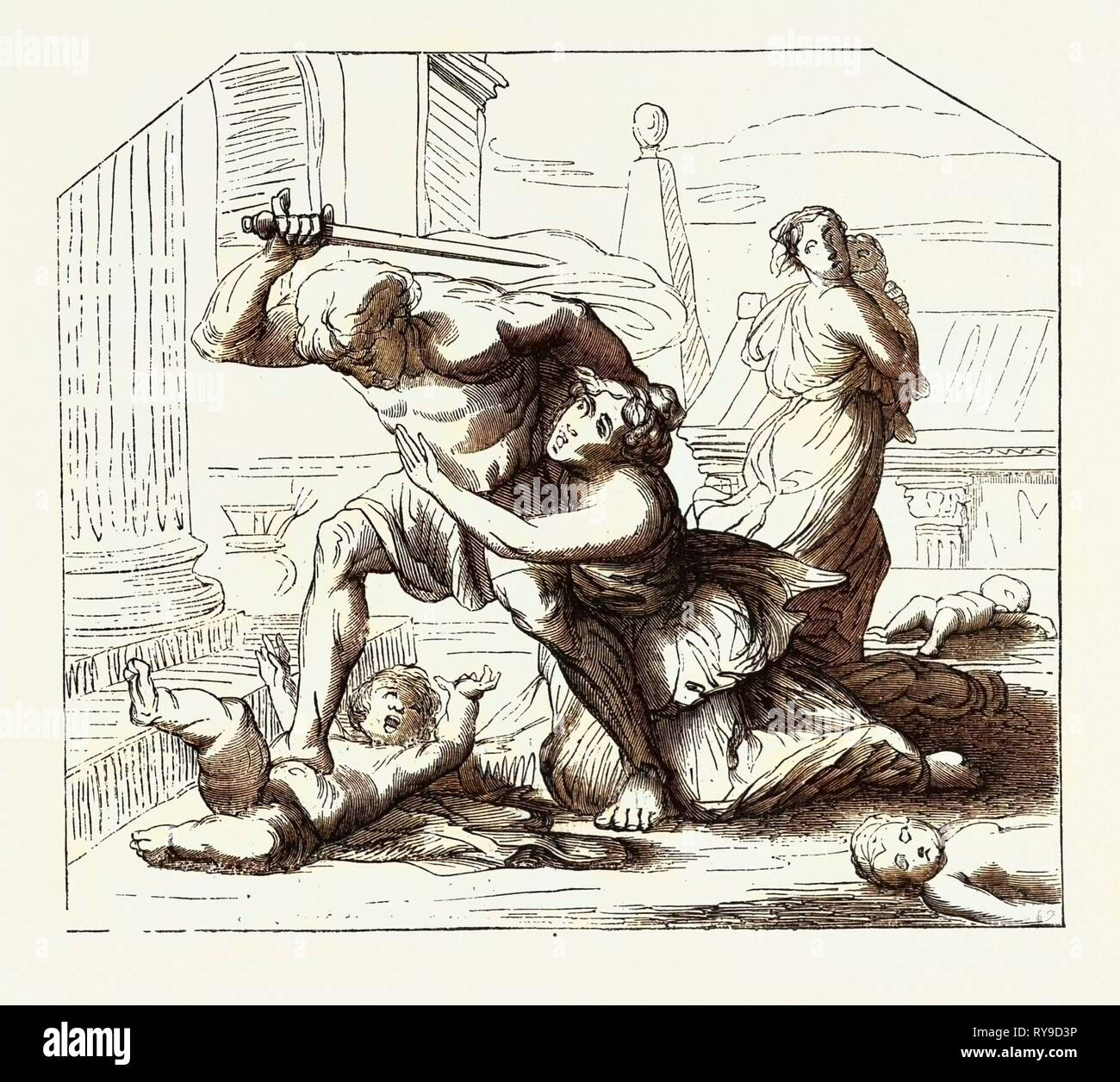Massacre of the Innocents by Nicolas Poussin: Primitive  sketch. engraving 1855 - Stock Image