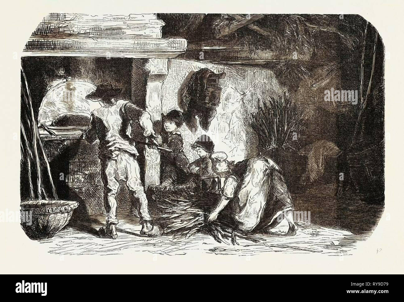 SCENES OF COUNTRY LIFE: The bakehouse. Studies by Damourette. engraving 1855 - Stock Image