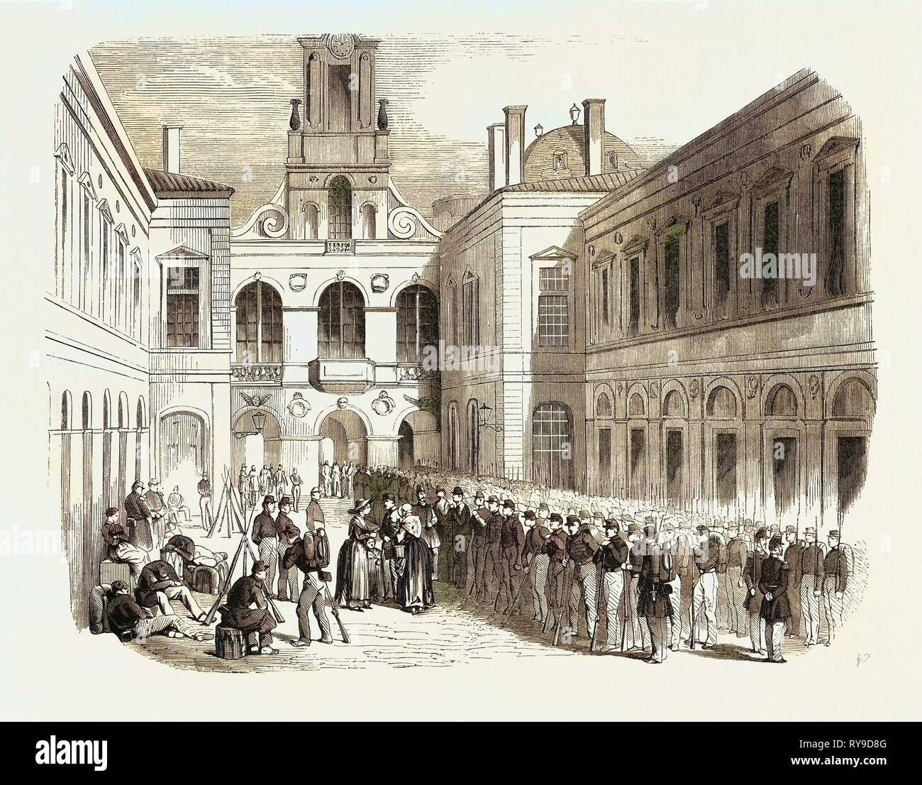 Inspection, in the Courtyard of the Townhall of Lyon, the Young Soldiers Sent to Crimea. 1855. France. Engraving - Stock Image