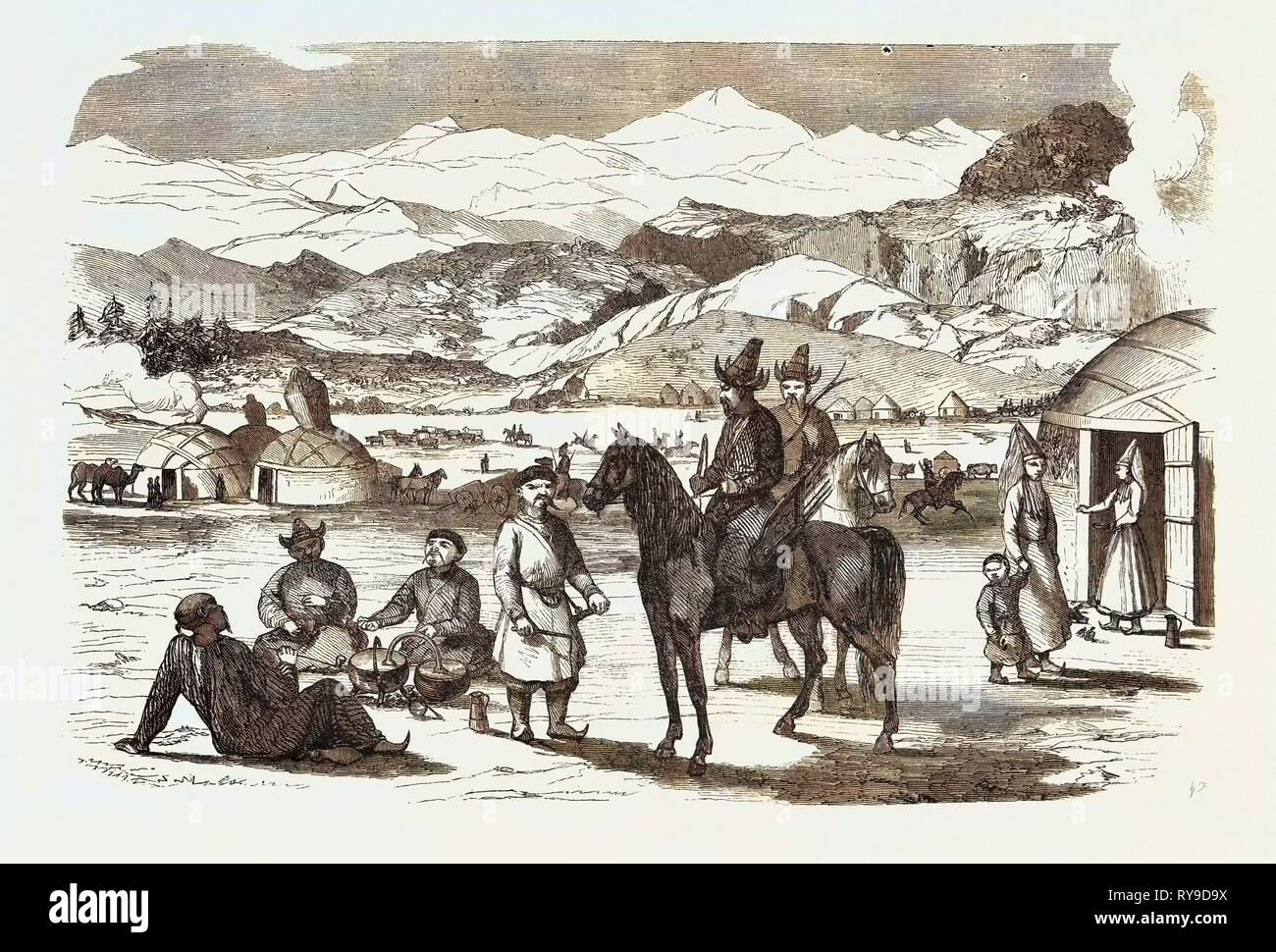 Winemaking in Kirghiz, Kyrgyz, Kyrgystan. Engraving 1855 - Stock Image