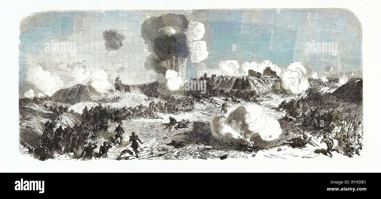 Attack of the Central Bastion by the Division of Salle. The Crimean War, 1855. Engraving - Stock Image