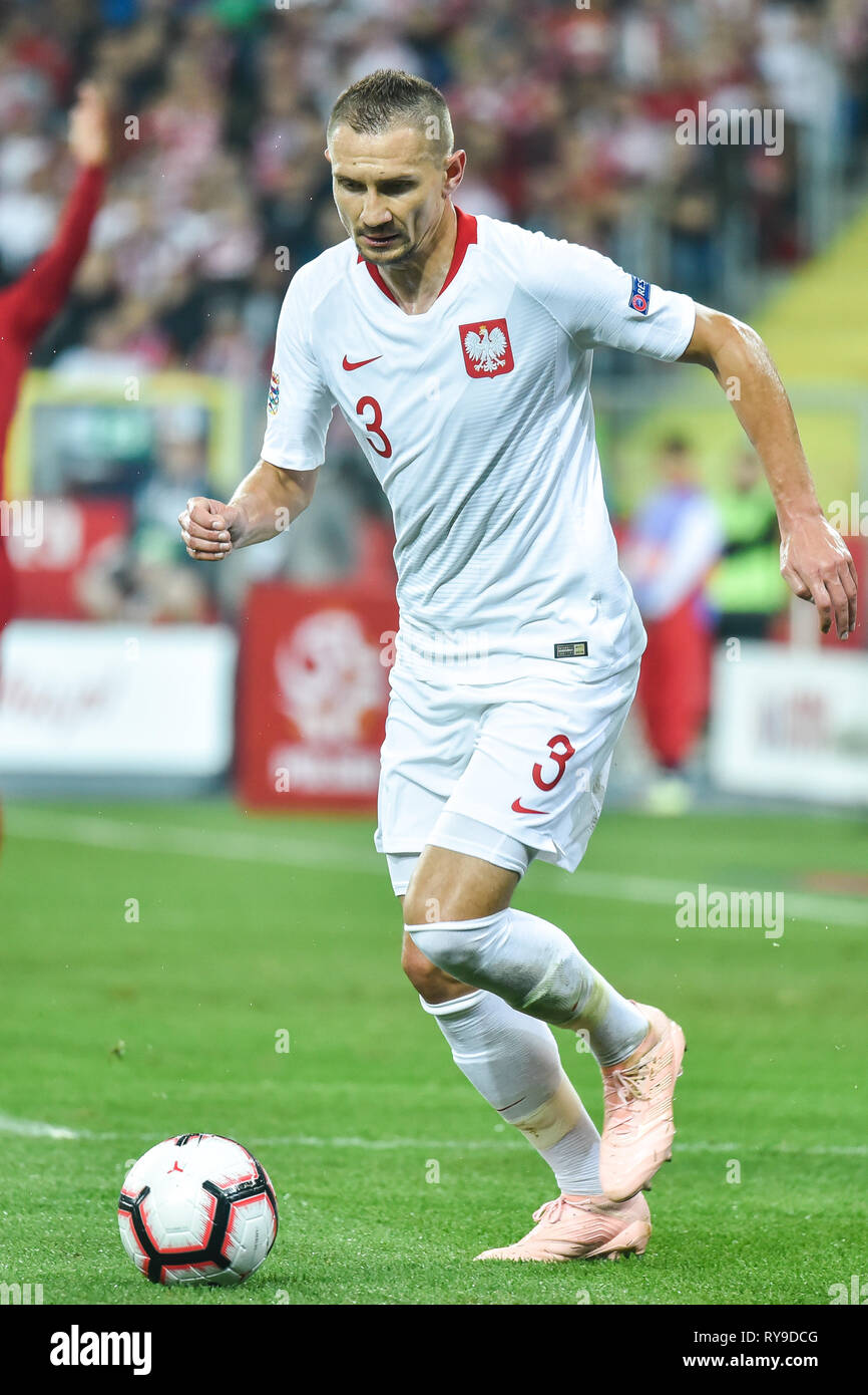CHORZOW, POLAND - OCTOBER 11, 2018: Football Nations League division A group 3 match Poland vs Portugal 2:3 . In action Artur Jedrzejczyk - Stock Image