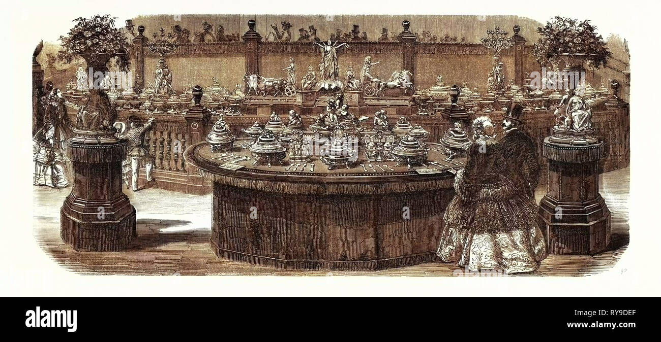 Expo Industry, 1855. Service Table Ordered from Mr. Christofle, by the Emperor. Paris, France, Exposition Universelle. An International Exhibition Held on the Champs-Elysees in 1855, Consisting of an Industrial and an Beaux Arts Exposition. Engraving - Stock Image
