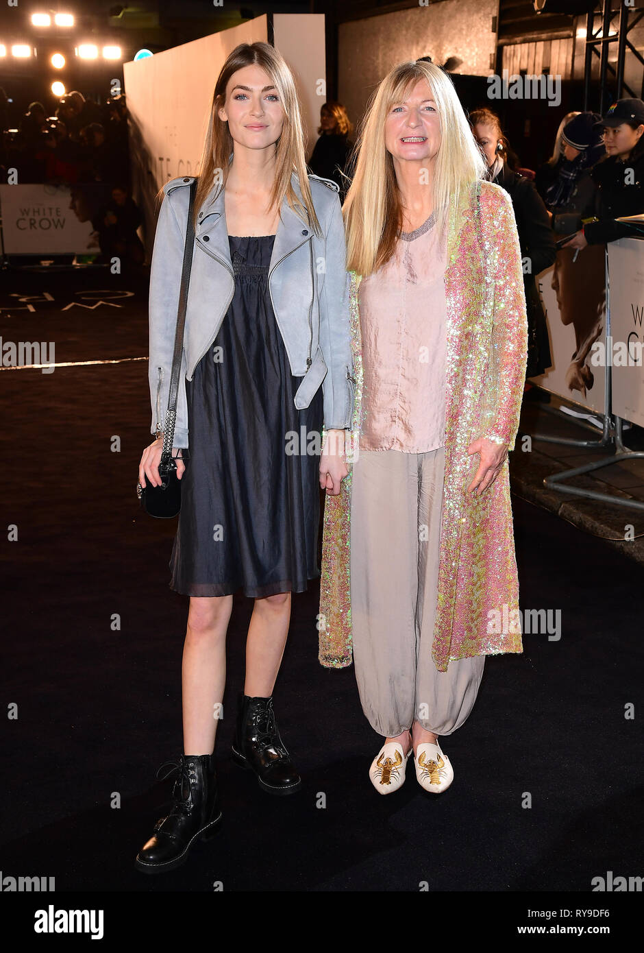 Eve Delf (left) attending The White Crow UK Premiere held at the Curzon Mayfair, London. - Stock Image