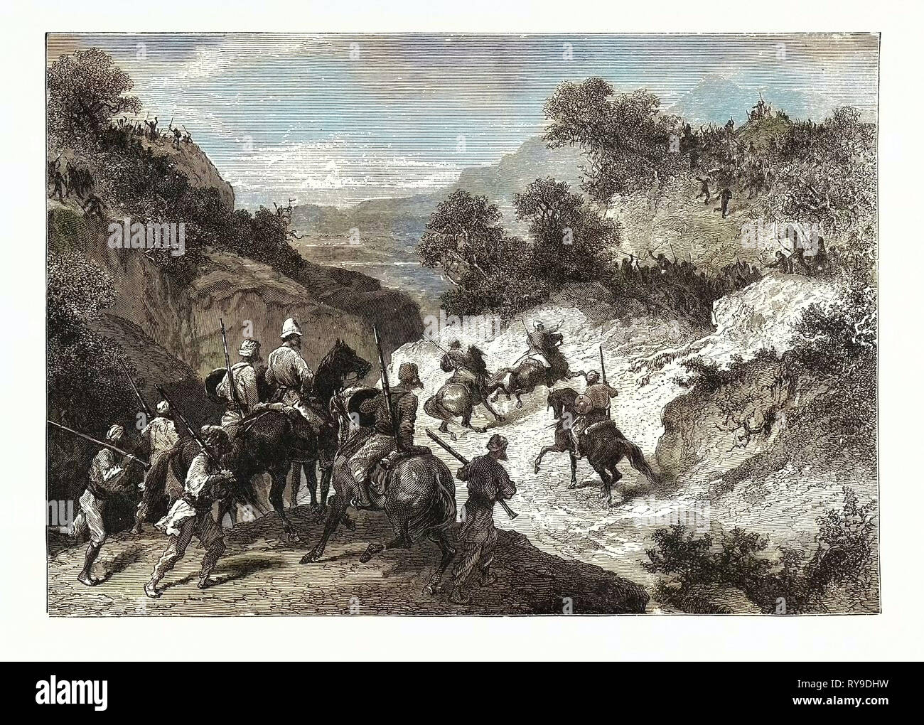 Parley with Bheels in the Beechwarra Pass. Parley is a Discussion or Conference, Especially One Between Enemies Over Terms of a Truce or Other Matters. Bheels, a Tribe from Central India - Stock Image