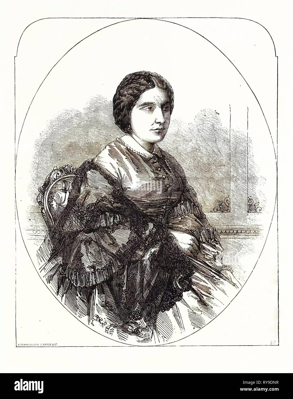 Madame Miolan-Carvalho, of the Royal Italian Opera, Covent Garden, London, UK. Marie Caroline Miolan-Carvalho, December 31, 1827, Marseille - July 10, 1895, Chateau-Puys, Was a Famed French Operatic Soprano, Particularly Associated with Light Lyric and Coloratura Roles - Stock Image