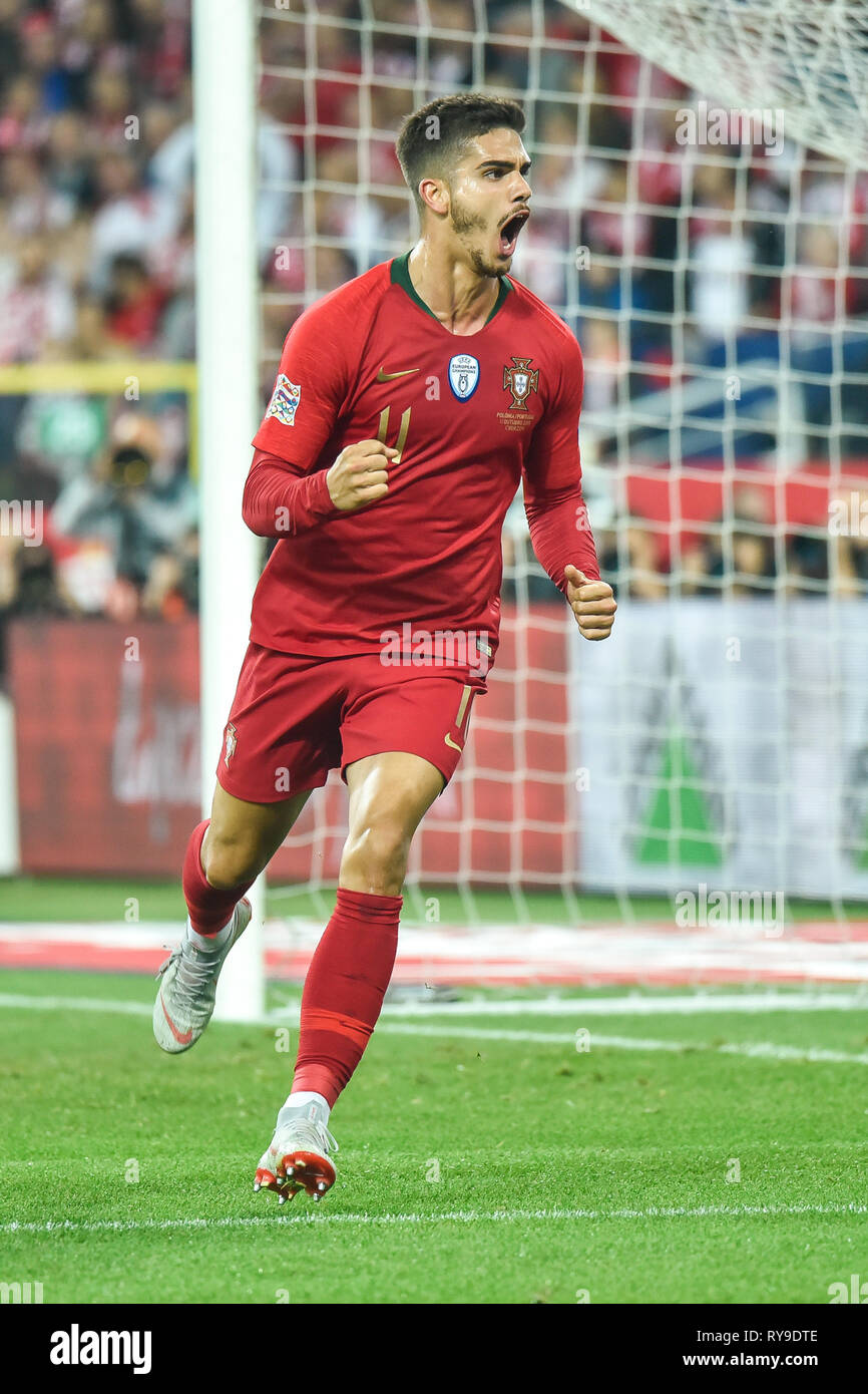 CHORZOW, POLAND - OCTOBER 11, 2018: Football Nations League division A group 3 match Poland vs Portugal 2:3  Andre Silva joy after scoring goal. - Stock Image