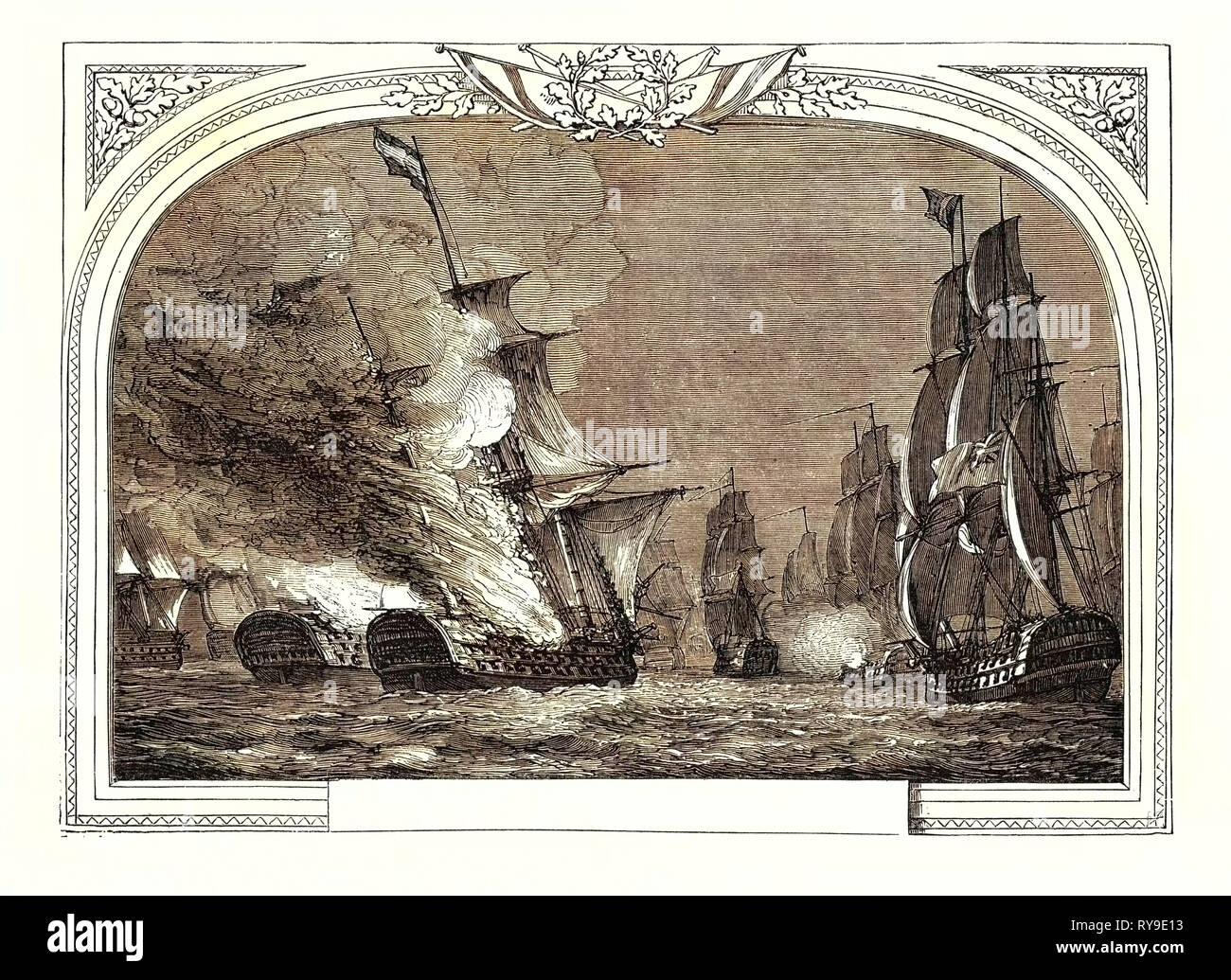 Battle Off Cabarela Point, (Admiral Sir J. Saumarez), July 12th, 1801. Destruction of the Rea Carlos and San Hermenegildo. James Saumarez, 1st Baron De Saumarez (1757  1836), Admiral of the Royal Navy - Stock Image