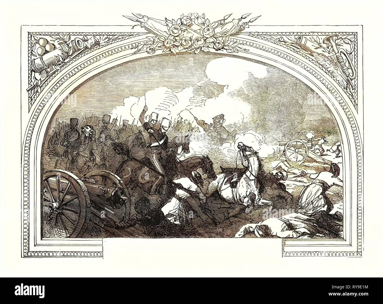 Battle of Ferozeshah, (Lord Gough,) December 21st, 1845, Between the British and the Sikhs, at the Village of Ferozeshah in Punjab. The British Were Led by Sir Hugh Gough and Governor-General Sir Henry Hardinge, While the Sikhs Were Led by Lal Singh. India - Stock Image