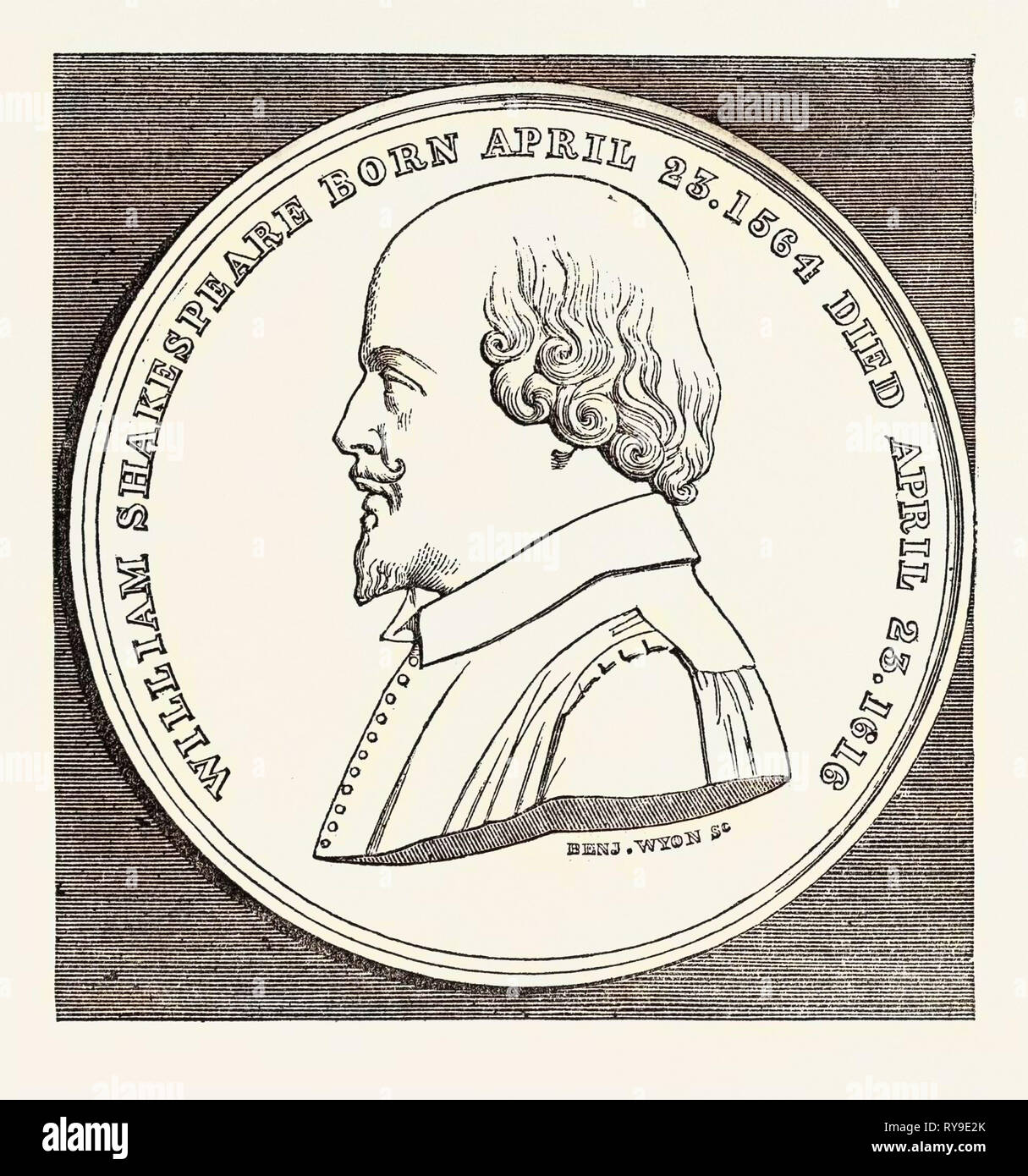 The Beaufoy Medal, in Commemoration of the Birth and Death of Shakespeare, April 23, 1564-1616 - Stock Image