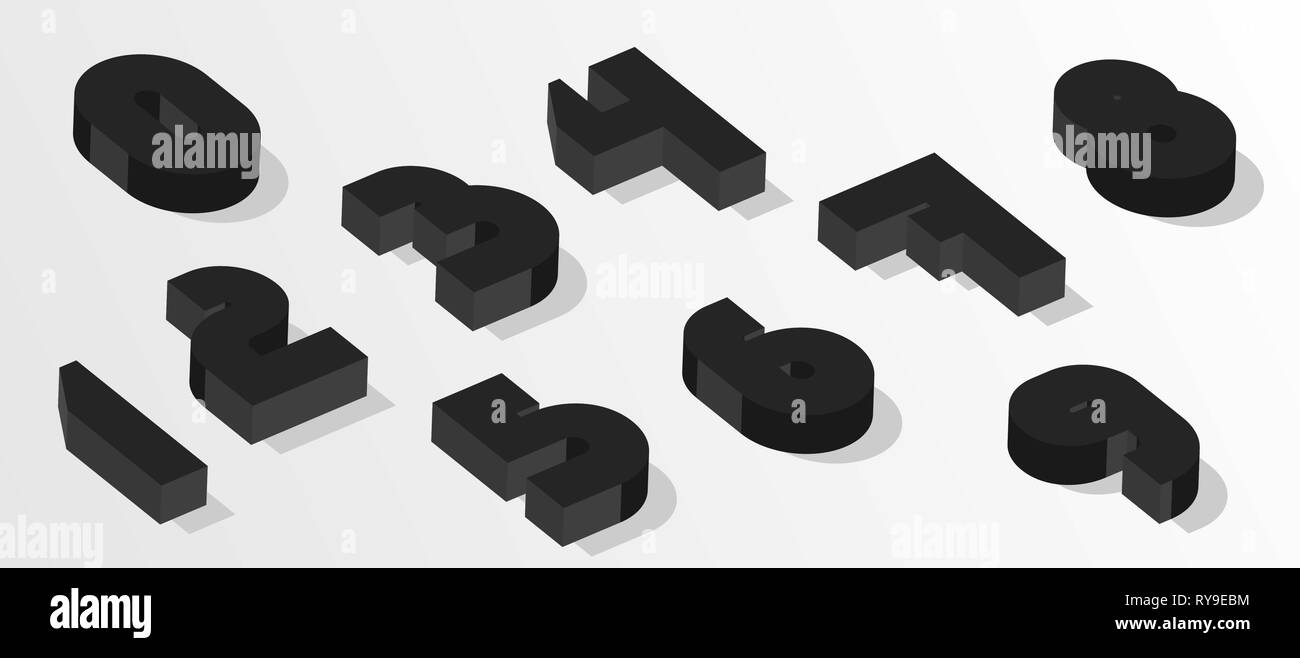 Black isometric numbers. 3d effect numbers. Vector numbers for any typography design. - Stock Image