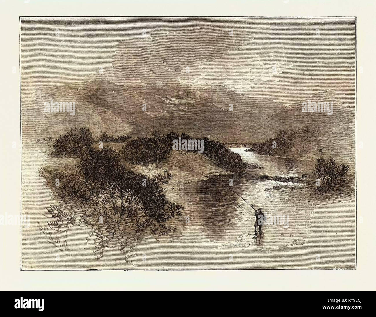 Sir Waler Scott, Marmion, an Angry Brook, It Sweeps the Glade, Brawls Over Rock and Wild Cascade, and, Foaming Brown with Doubled Speed, Hurries Its Waters to the Tweed., Engraving 1884, UK, Britain, British, Europe, United Kingdom, Great Britain, European - Stock Image