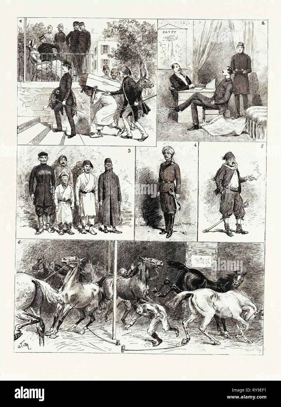 Experiences of a British Officer of the Gendarmerie in Egypt, Engraving 1884 - Stock Image