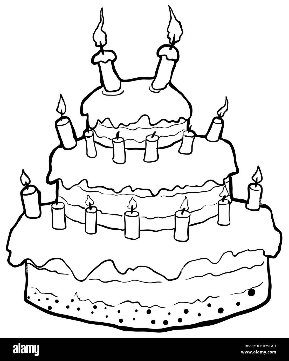 Wondrous Birthday Cake Drawing Vector Horizontal Line Drawing Over White Funny Birthday Cards Online Alyptdamsfinfo