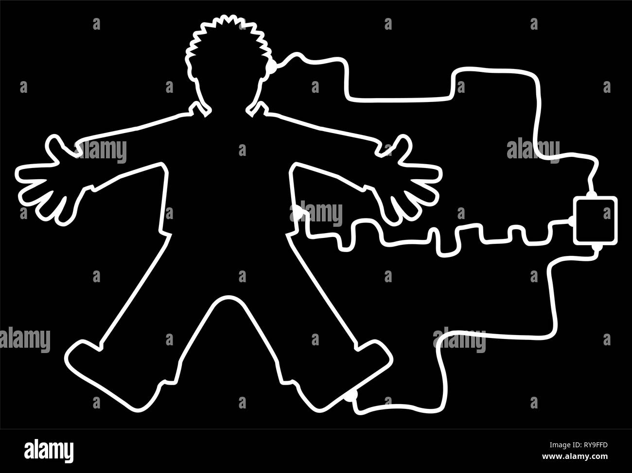 Body outline connected to unknown device, white lines on black, vector illustration, horizontal - Stock Vector
