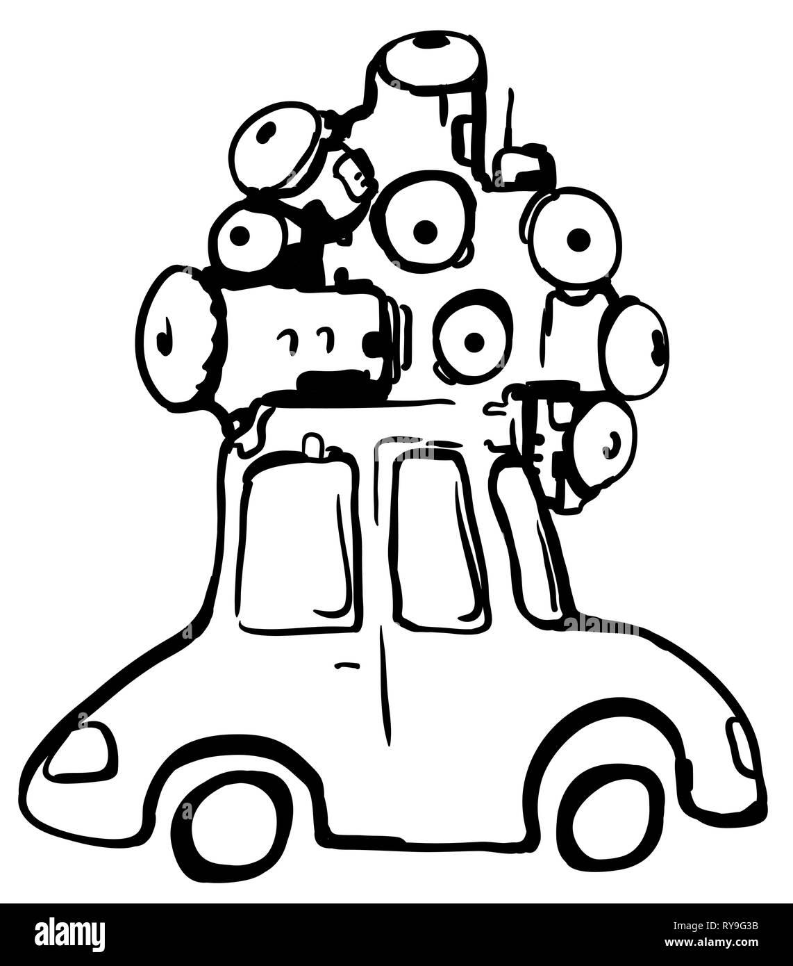 Camera eye car cartoon line drawing, vector, horizontal, over white - Stock Image