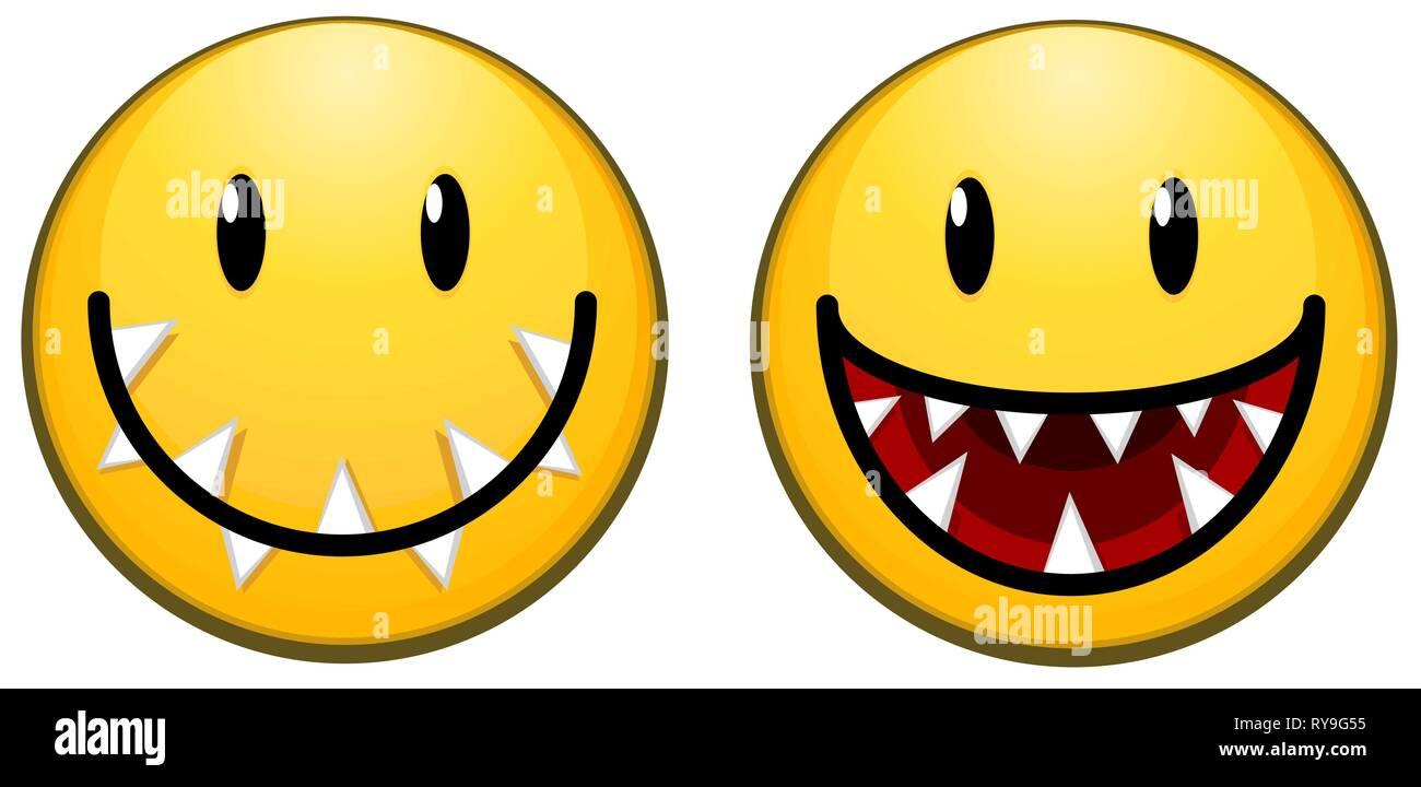 Carnivorous happy smile face icon, color vector illustration design elements, horizontal, over white, isolated - Stock Image