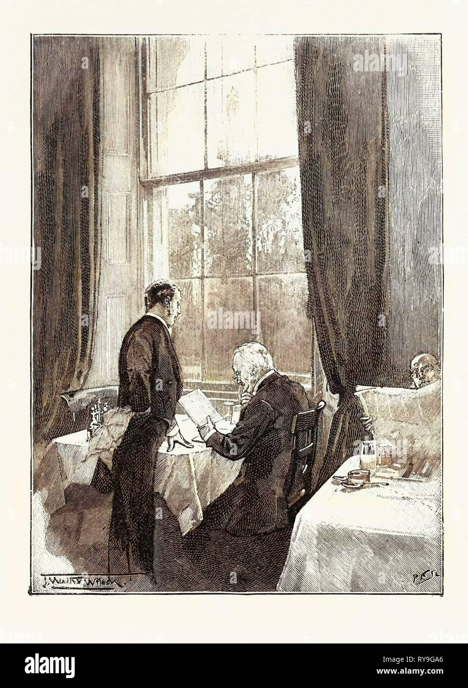 The Coffee Room, Athenaeum Club, Pall Mall, London, UK, 1893 Engraving - Stock Image