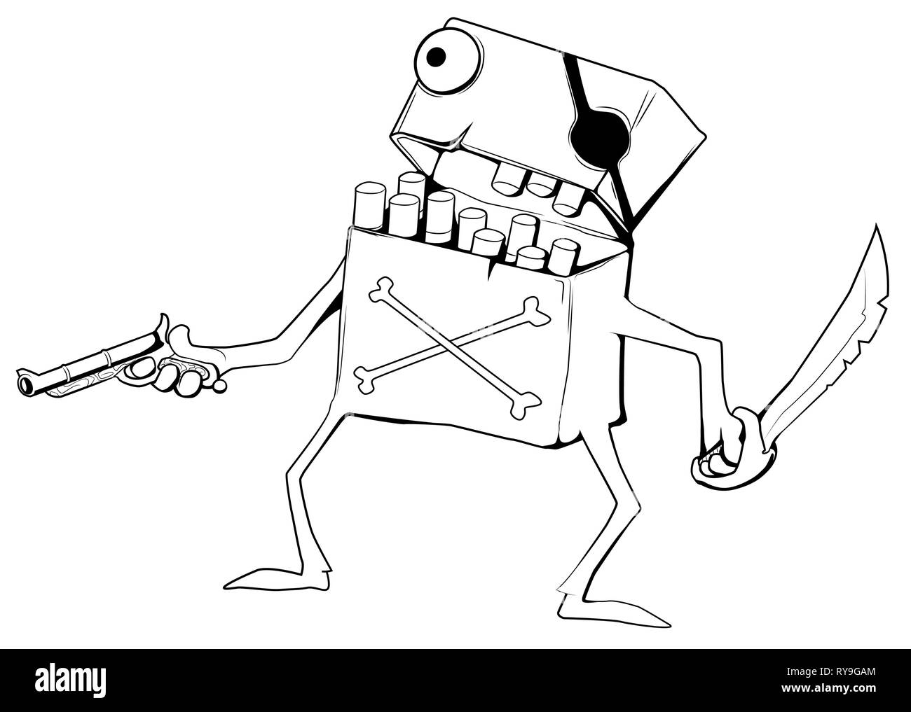 Cigarette Pirate character cartoon drawing, vector illustration, horizontal, over white, isolated - Stock Vector