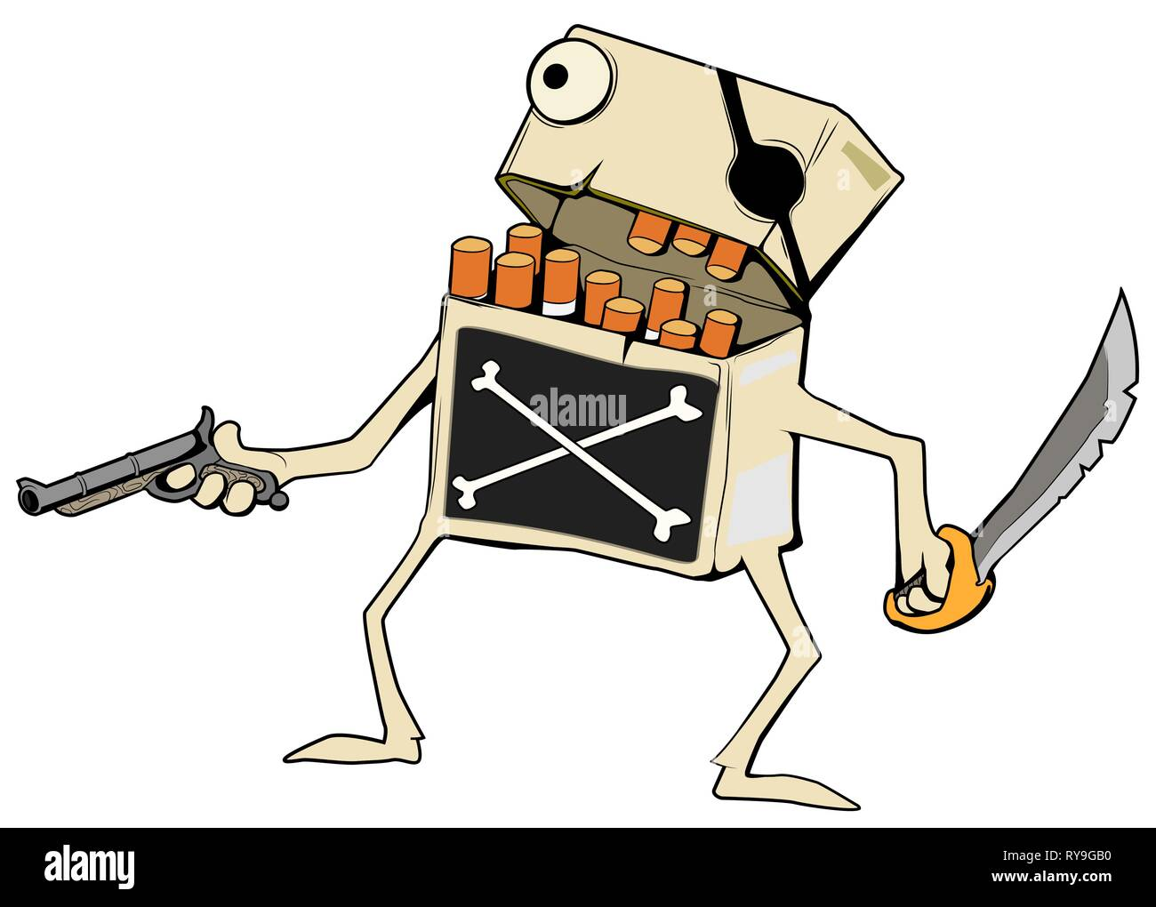 Cigarette Pirate character cartoon color drawing, vector illustration, horizontal, over white, isolated - Stock Vector