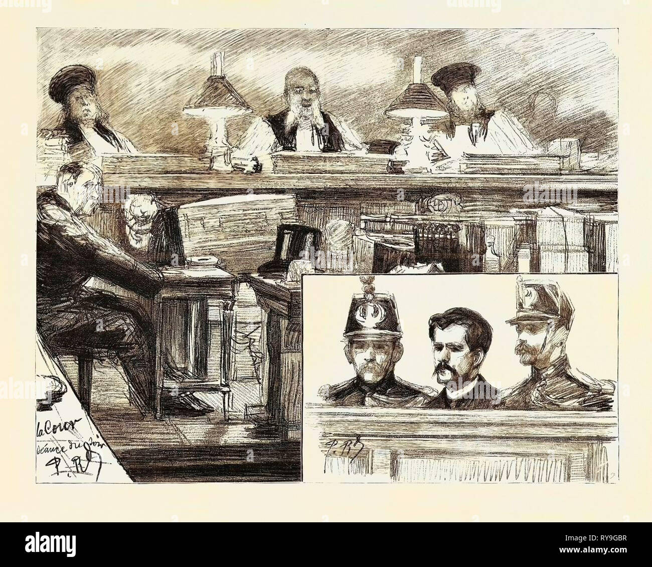 The Anarchists in Paris, France, the Trial of Ravachol at the Palais De Justice: M. Gues, the Presiding Judge, on the Bench, Ravachol Sitting Between Two Guards the Trial of Ravachol and His Accomplices Was Prolonged by Gaslight Into the Night, and the Judge's Summing-Up Was Not Concluded Until Past One O'Clock in the Morning., 1892 Engraving - Stock Image