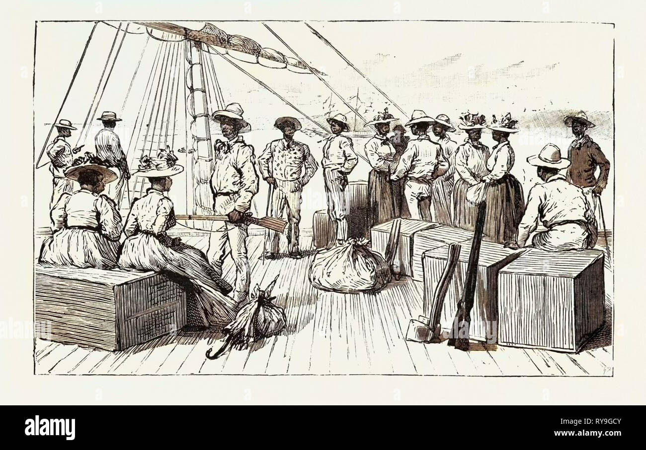 The Kanaka Labour Question in Queensland: Islanders Returning to Their Native Country after Having Served Their Time, Australia, 1892 Engraving - Stock Image