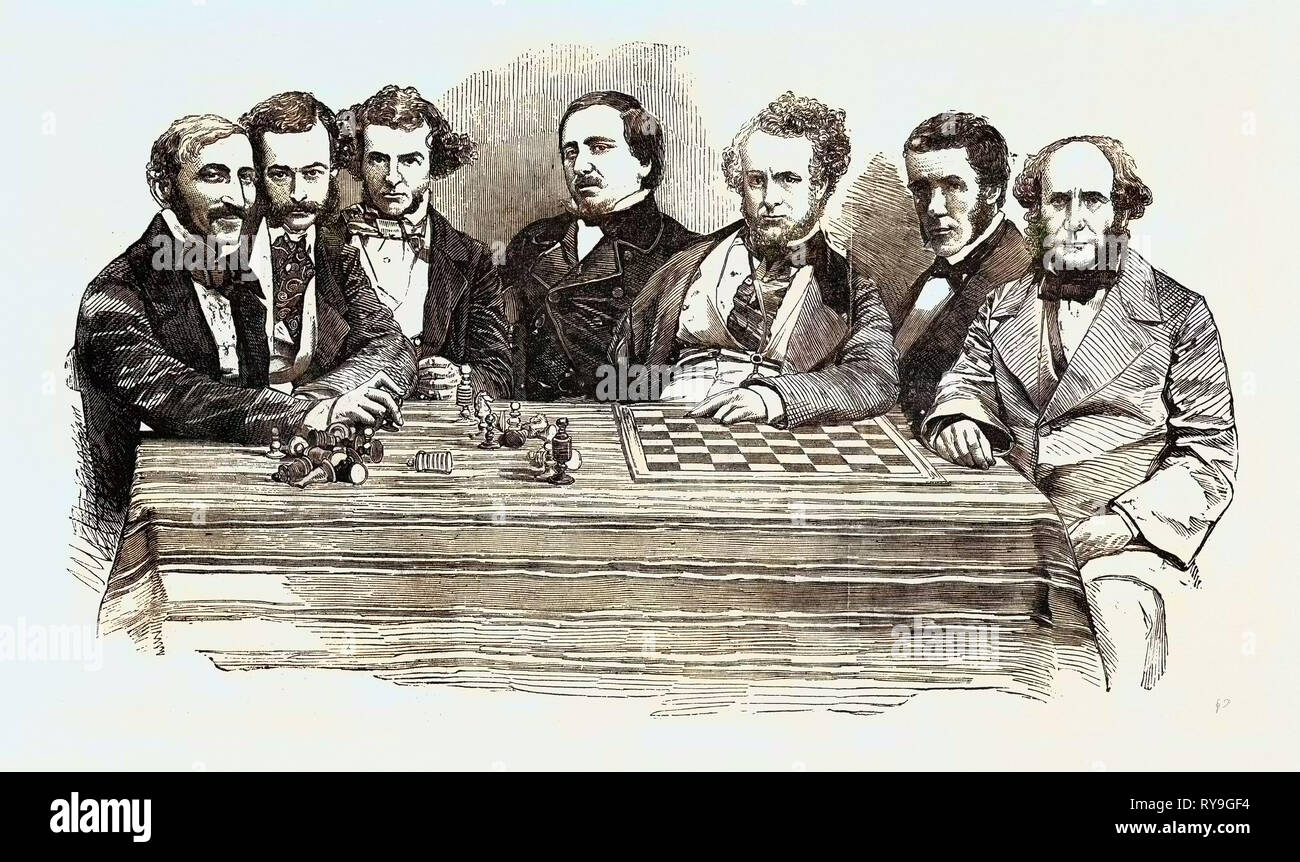 Chess Celebrities at the Late Chess Meeting, July 14, 1855, Herr Lowenthal, M. De Riviere, Mr. Wyvill, M.P., Herr Falkbeer, Mr. Staunton, Lord Lyttelton, Captain Kennedy - Stock Image