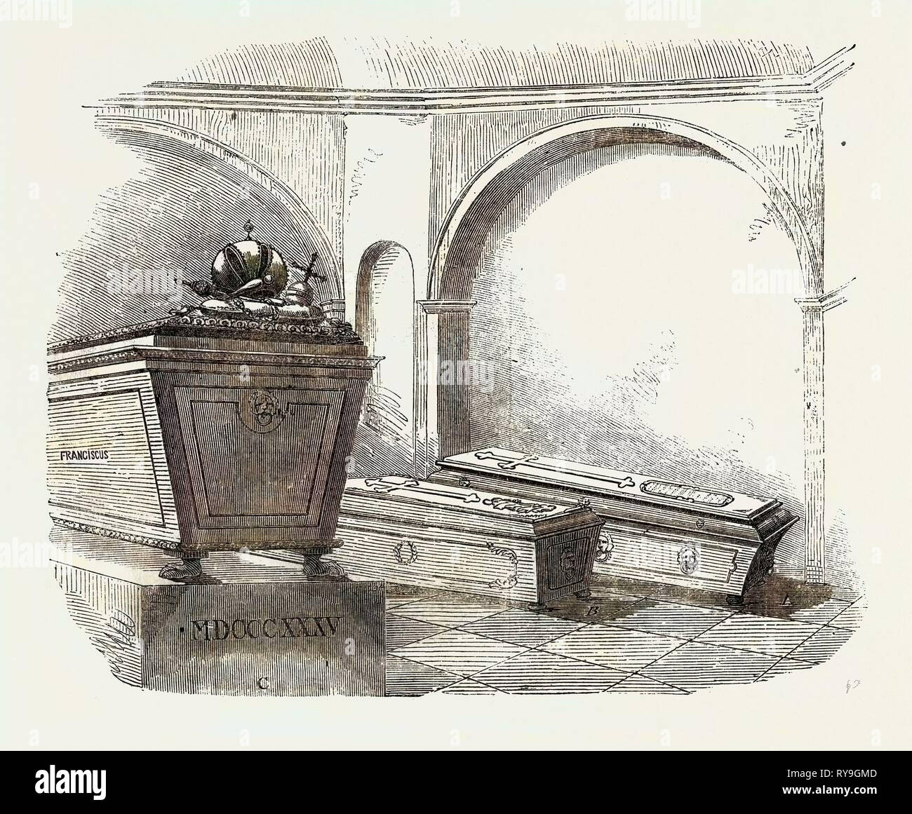 Tomb of Napoleon II., in the Imperial Vault, in the Church of the Capuchins, at Vienna Stock Photo
