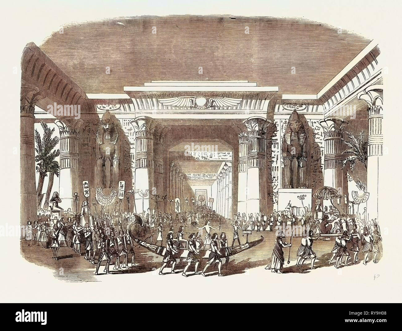 Scene from the New Egyptian Drama of 'Nitocris,' at Drury Lane Theatre, the Coronation Procession - Stock Image