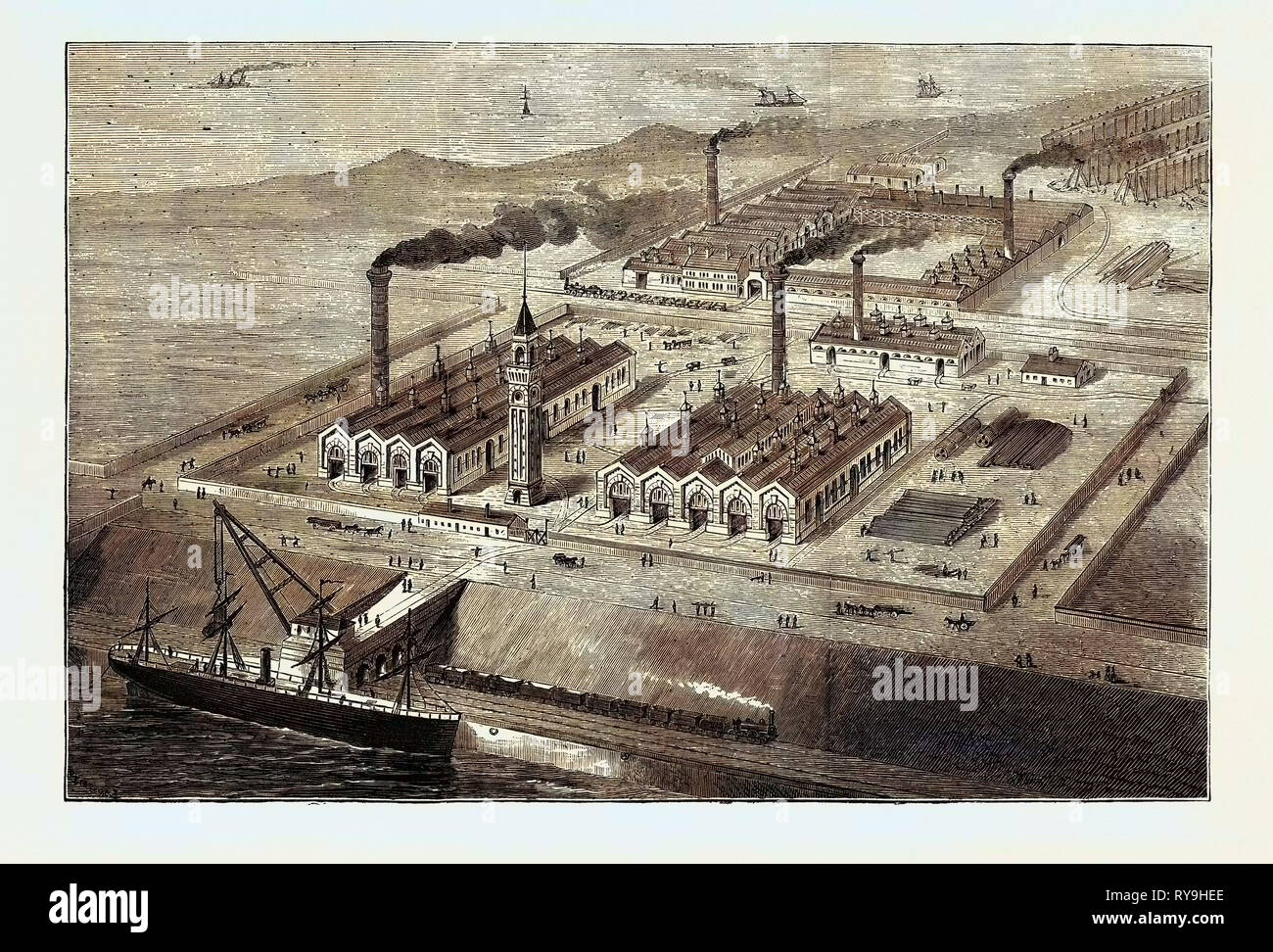 Barrow-in-Furness: Its History and Its Industries, Meeting of the Iron and Steel Institute: The Iron Ship Building Yard, September 12, 1874, UK - Stock Image