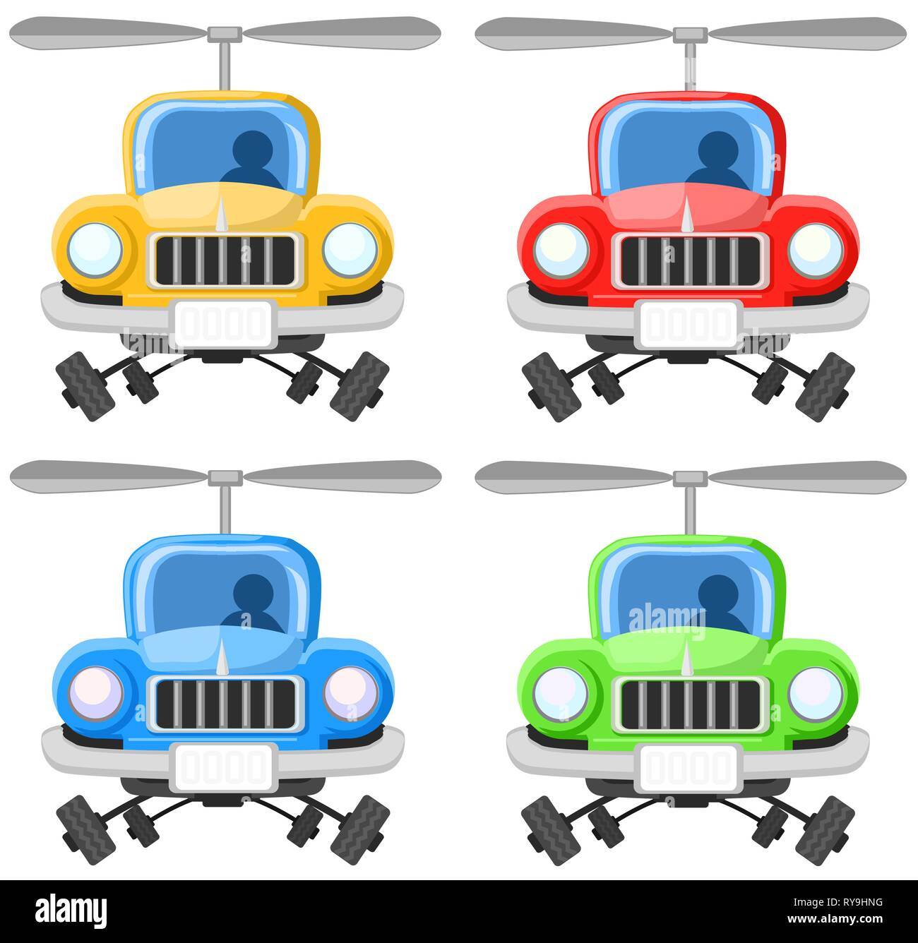 Flying car cartoon color drawing element set, vector illustration, horizontal, over white - Stock Image