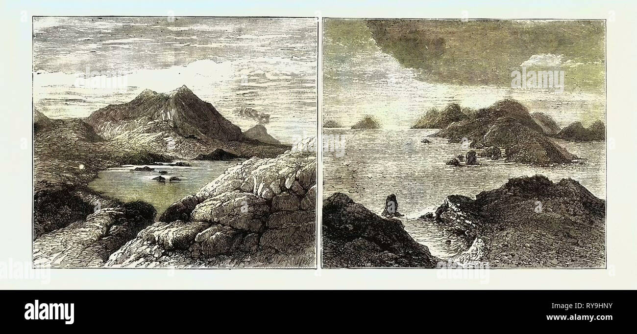 Sketches in the Lipari Islands: Left Image: Vulcanello (Extinct Crater), with Stromboli in the Distance, Right Image: Bird's-Eye View of the Islands, As Seen from Vulcano Stock Photo
