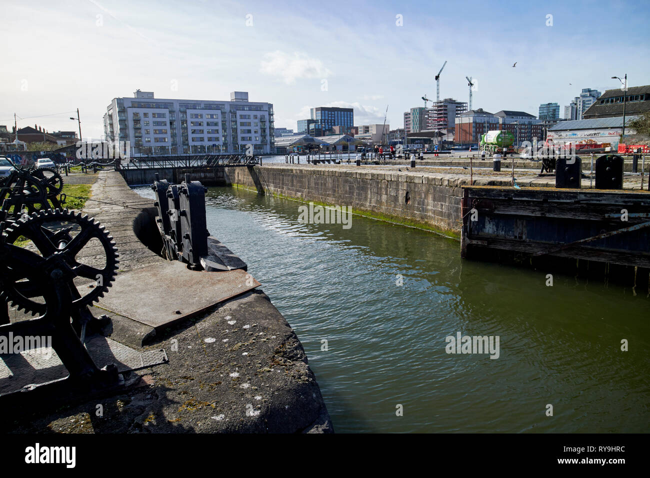 Camden Lock built in 1790 part of the grand canal docks lock gates Dublin Republic of Ireland Europe - Stock Image