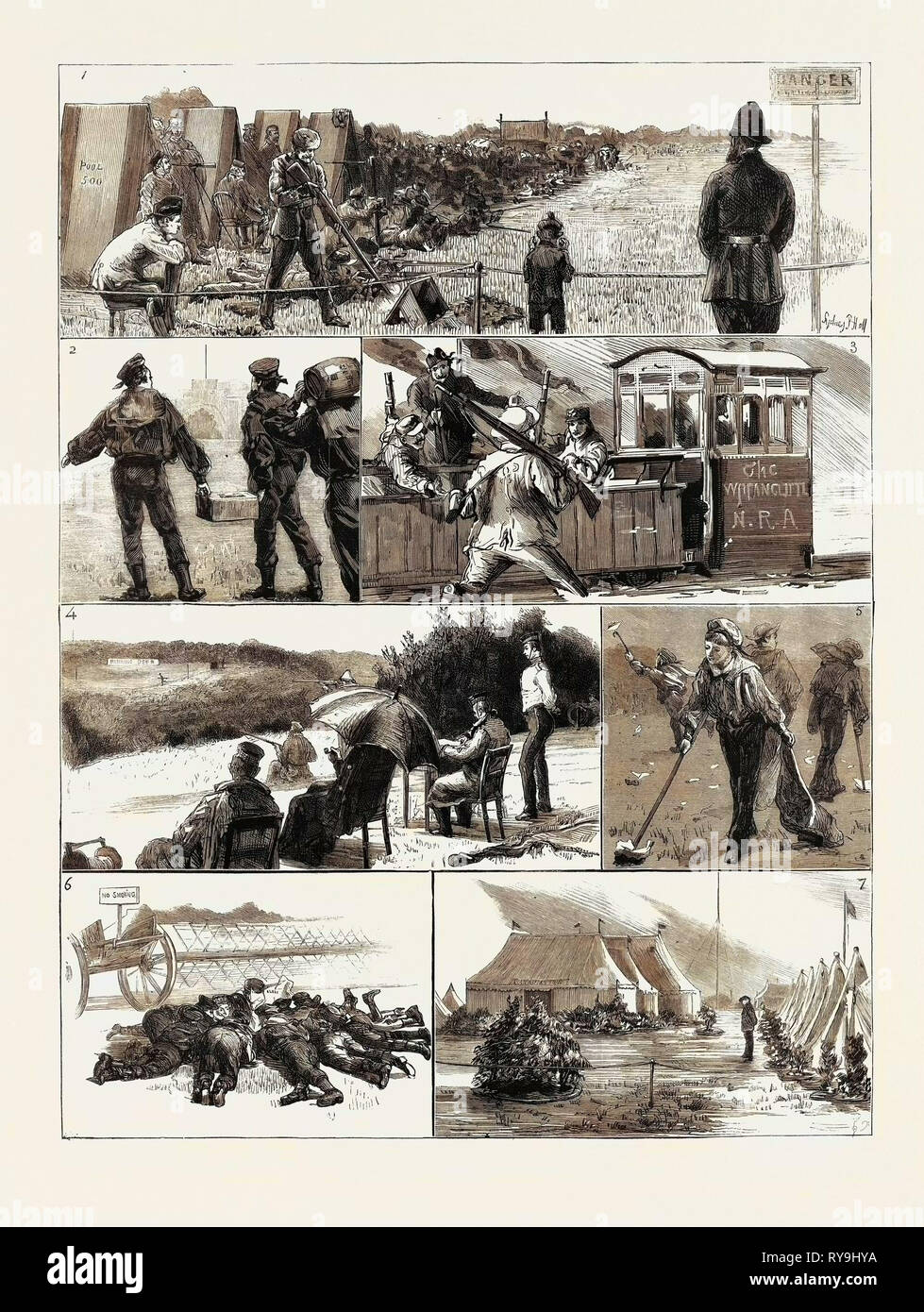 In Camp at Wimbledon: 1. A Blow Out for Threepence, 2. Ammunition, 3. The Running Man (No. 1): Friend a, 'Keep It Up, Brown,' Friend B, 'Give in Your Rifle, Old Man,' Friend C, 'Plenty of Room, Brown', 4. The Running Man (No. 2), 5. The Chiffonier Brigade, 6. Laying Their Heads Together after the Latest from Alexandria, 7. The Canadian Camp - Stock Image