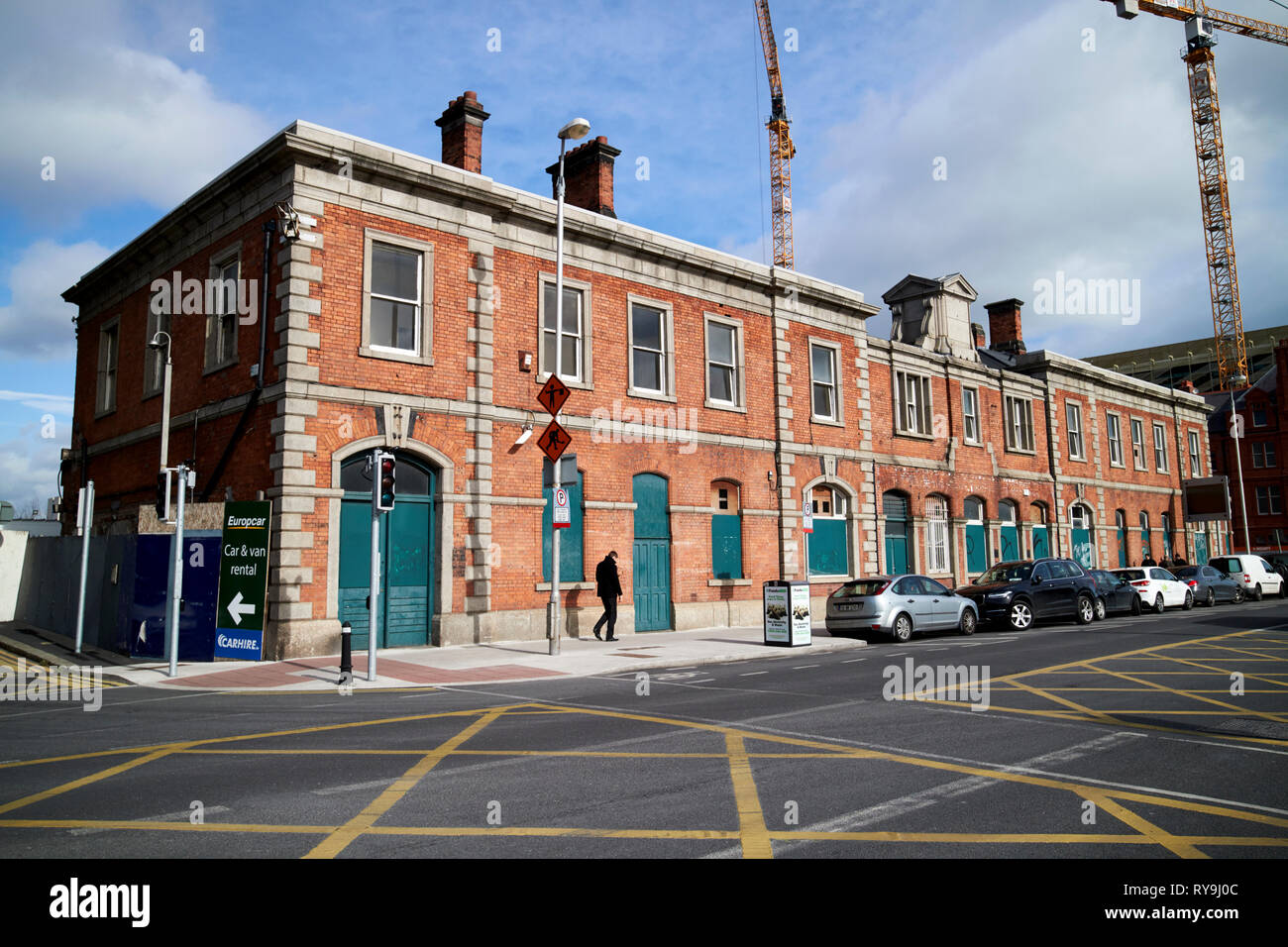 Old CIE goods depot and north wall railway station Dublin Republic of Ireland Europe The former railway station was the stop off point for Irish Briti - Stock Image