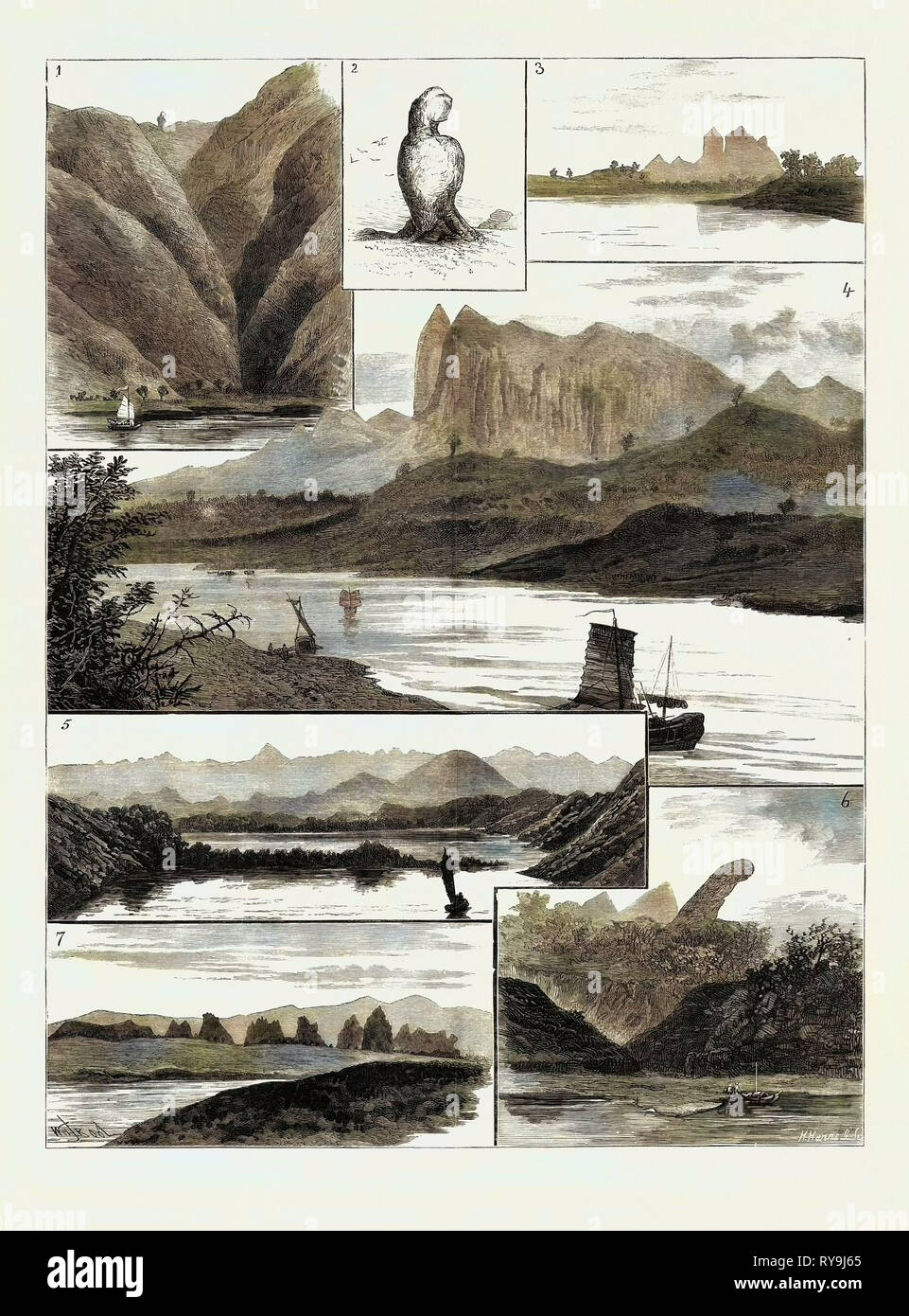 The Colquhoun-Wahab Expedition Through China, Scenes on the Canton River: 1. In the Shau-Hing Gorge: 'the Expectant Wife.', 2. Enlarged Sketch of 'the Expectant Wife.', 3. View of the Pak-Shik-Shan, or 'White Stone Mountain,' from Tai-Wong, 4. Another View of the Pak-Shik-Shan at a Distance of Twenty Miles, 5. View at Daybreak from Mong-Kong, 6. 'the Detained Husband,' Near Tsun-Pan-Hill, 7. Rugged Isolated 'Needled' Limestone Peaks Near Kwei-Yuen - Stock Image