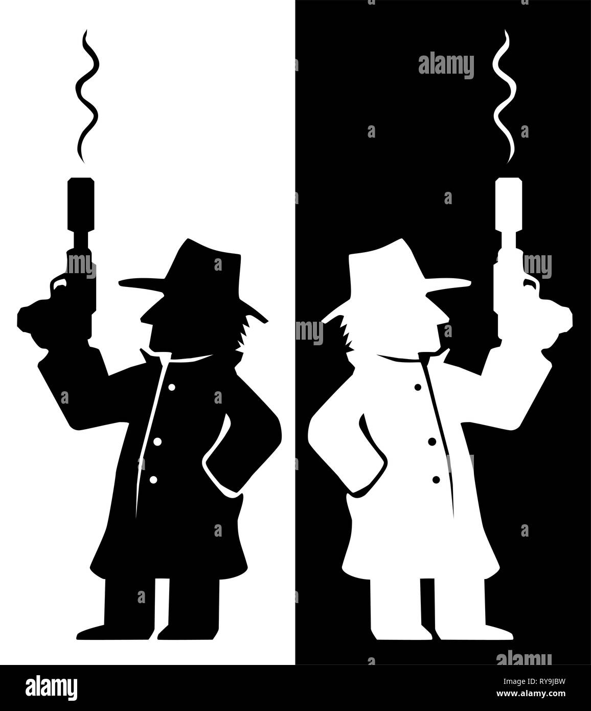 Assassin agent with smoking gun character black and white silhouette, vector illustration, vertical - Stock Vector