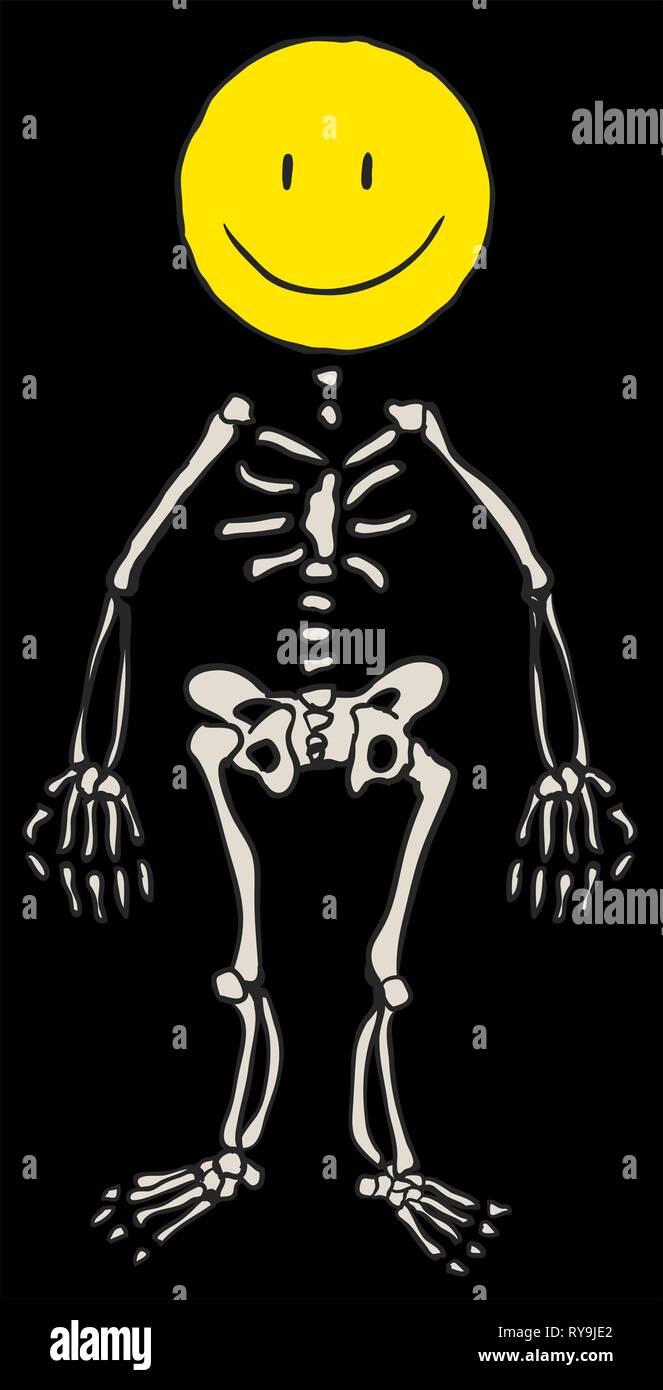 Happy face skeleton figure cartoon, Halloween vector illustration, vertical, black background, isolated Stock Vector