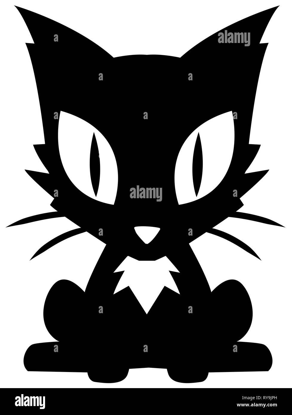 Kitten sitting stencil black, vector illustration, vertical, isolated - Stock Vector