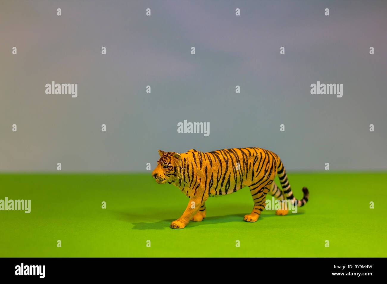 Like a real tiger. Toy tiger on a bright studio background. Eco toys. - Stock Image
