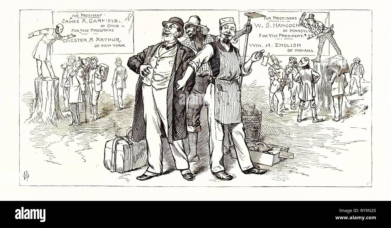 The Country is Safe. Republican Orators: If the Democratic Party Wins the Presidency, the Country is Lost. Democratic Orators: The Country Will Go to Ruin Headlong If the Republicans Carry the Election. Us, Engraving 1880 1881 - Stock Image