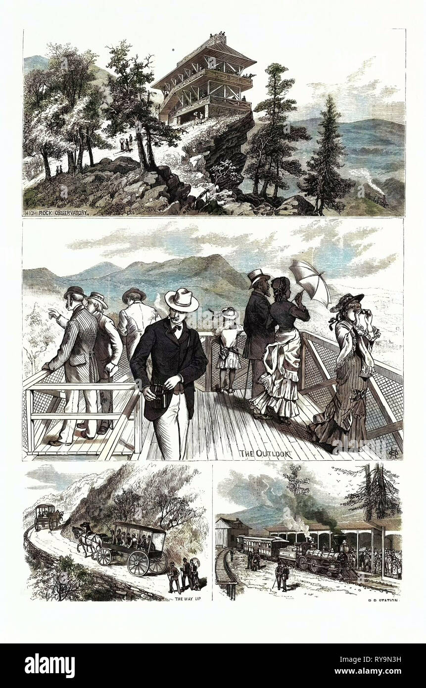 Maryland: Attractions of Penn-Mar Park and High Rock, in Washington County. U.S., Engraving 1880 1881 - Stock Image