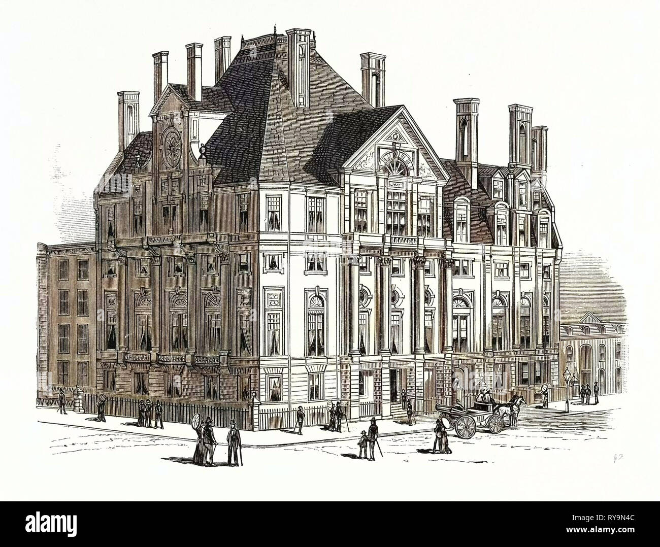 Architectural Progress of New York City. New Quarters of the Union League Club on Fifth Avenue. U.S., Engraving 1880 1881 - Stock Image