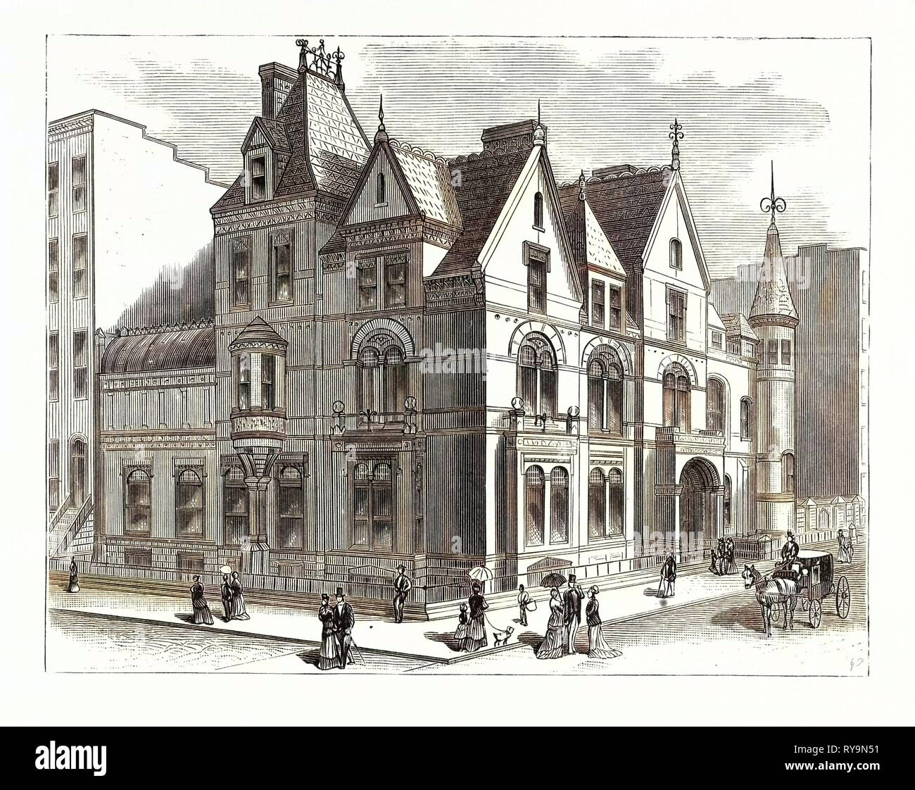 Architectural Progress of New York: Residence of Frederick W. Stevens, on Fifth Avenue and Fifty-Seventh Street. U.S., Engraving 1880 1881 - Stock Image