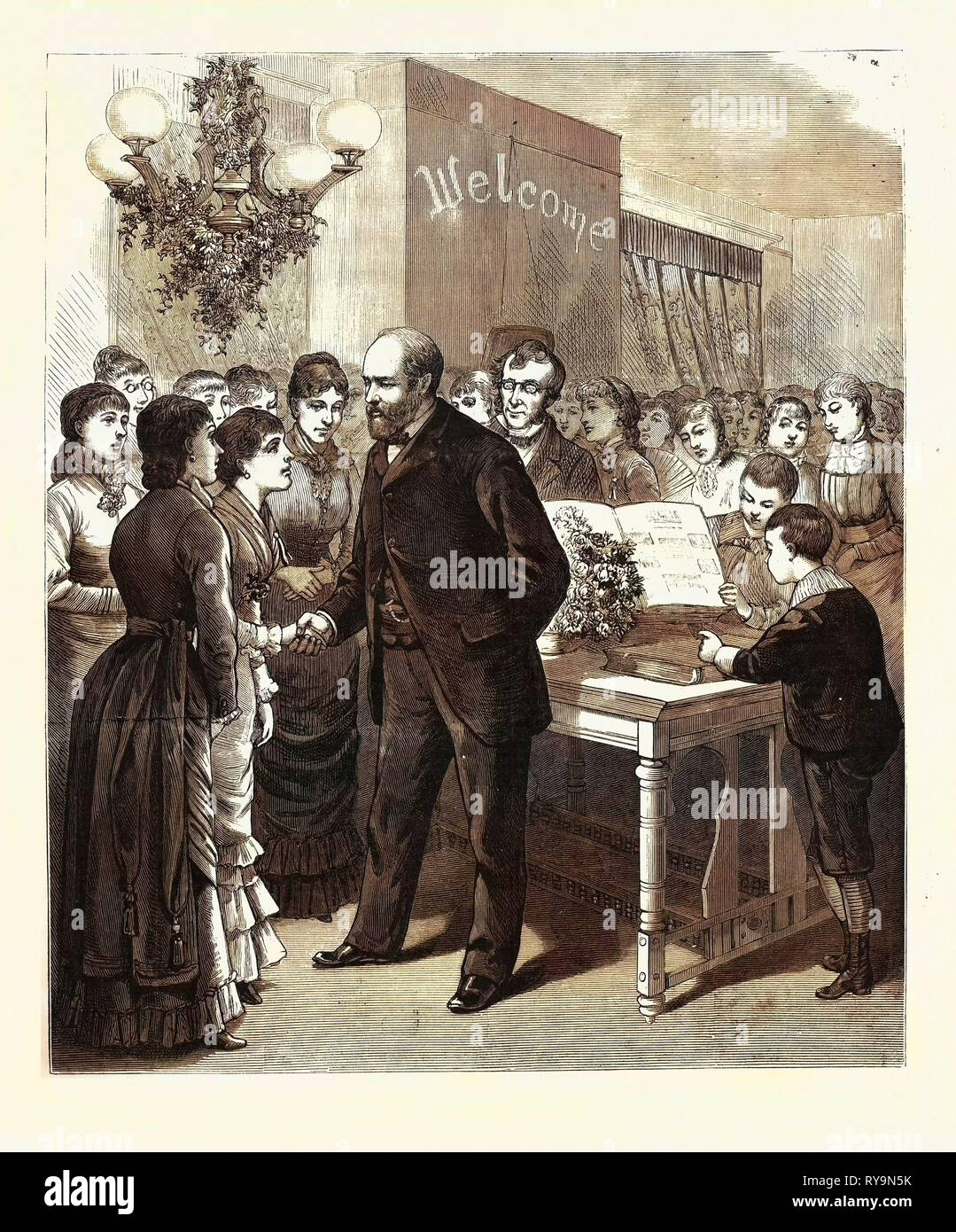 Ohio: Birthday Reception, by the Students of the Lake Erie Seminary at Painesville, to President-Elect Garfield, U.S., Engraving 1880 1881 - Stock Image
