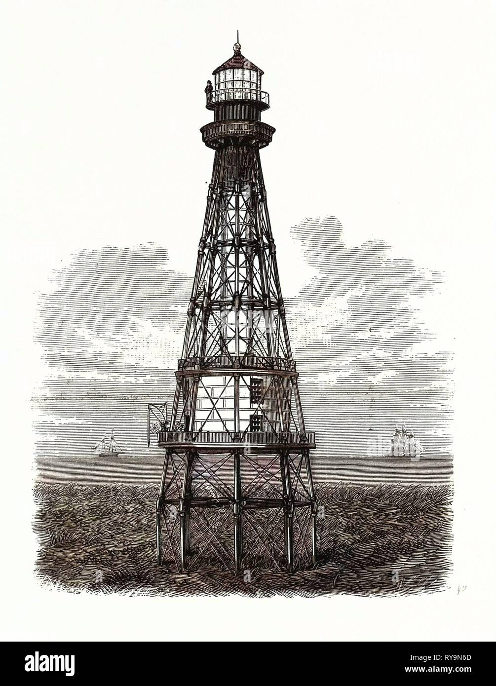 Louisiana: New Lighthouse Under Construction at South Pass, from Designs Furnished by Captain W. H. Heuer, Lighthouse Engineer. U.S., Engraving 1880 1881 - Stock Image